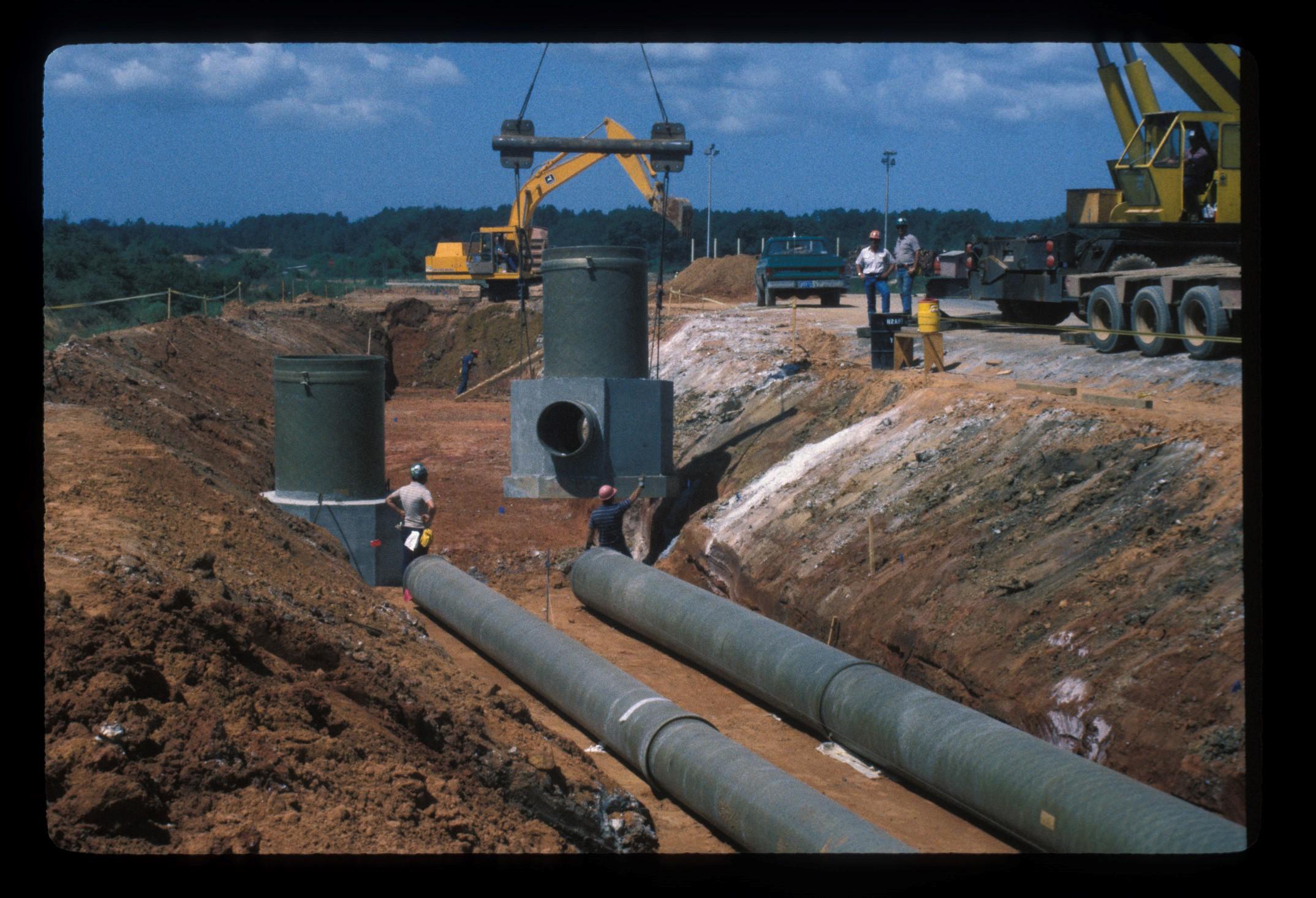 Underground effluent pipe fibrex fiberglass